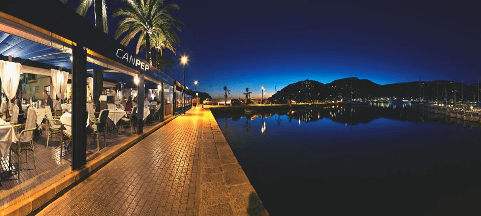 Restaurant Can pep - Vistas al mar de noche